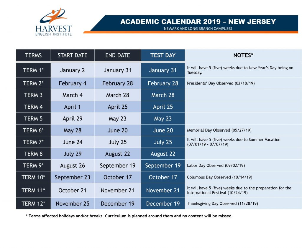 calendar harvest academic holiday branch newark nj campuses jersey
