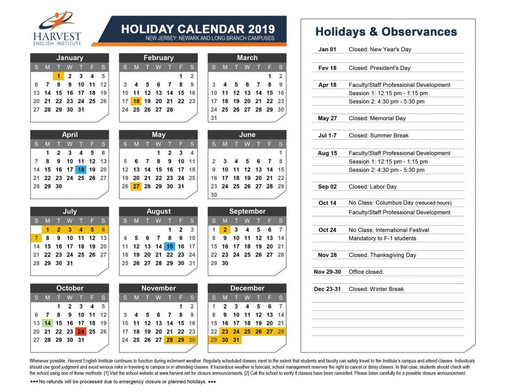 Academic And Holiday Calendar 2019 Harvest English Institute